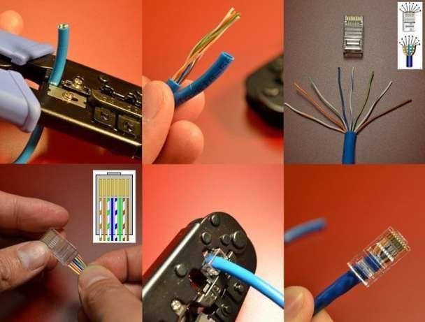 витая пара обжим интернет кабеля установка замена коннектора rj-45